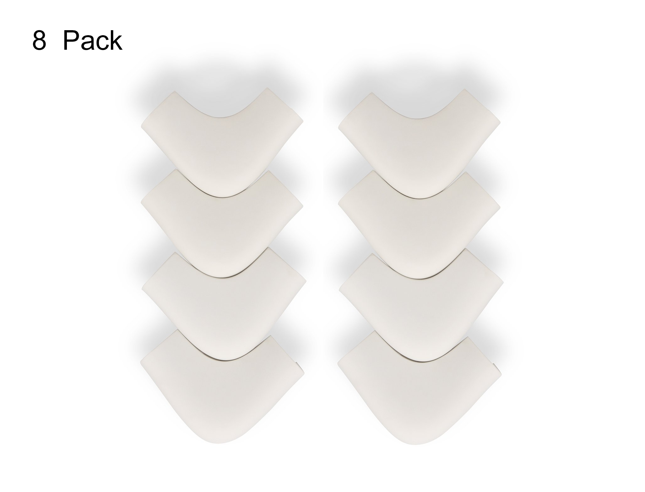 LONGFITE Corner Protectors, L Shape Food Grade Silicone Material Extra Thick Baby Safety Corner Guards, Cream, 8 Piece