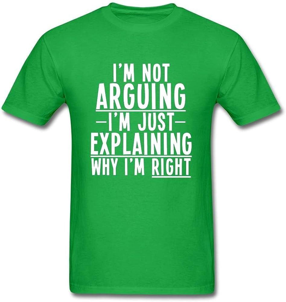Kittyer Men's I'm Not Arguing Just Explaining Design Cotton T Shirt S