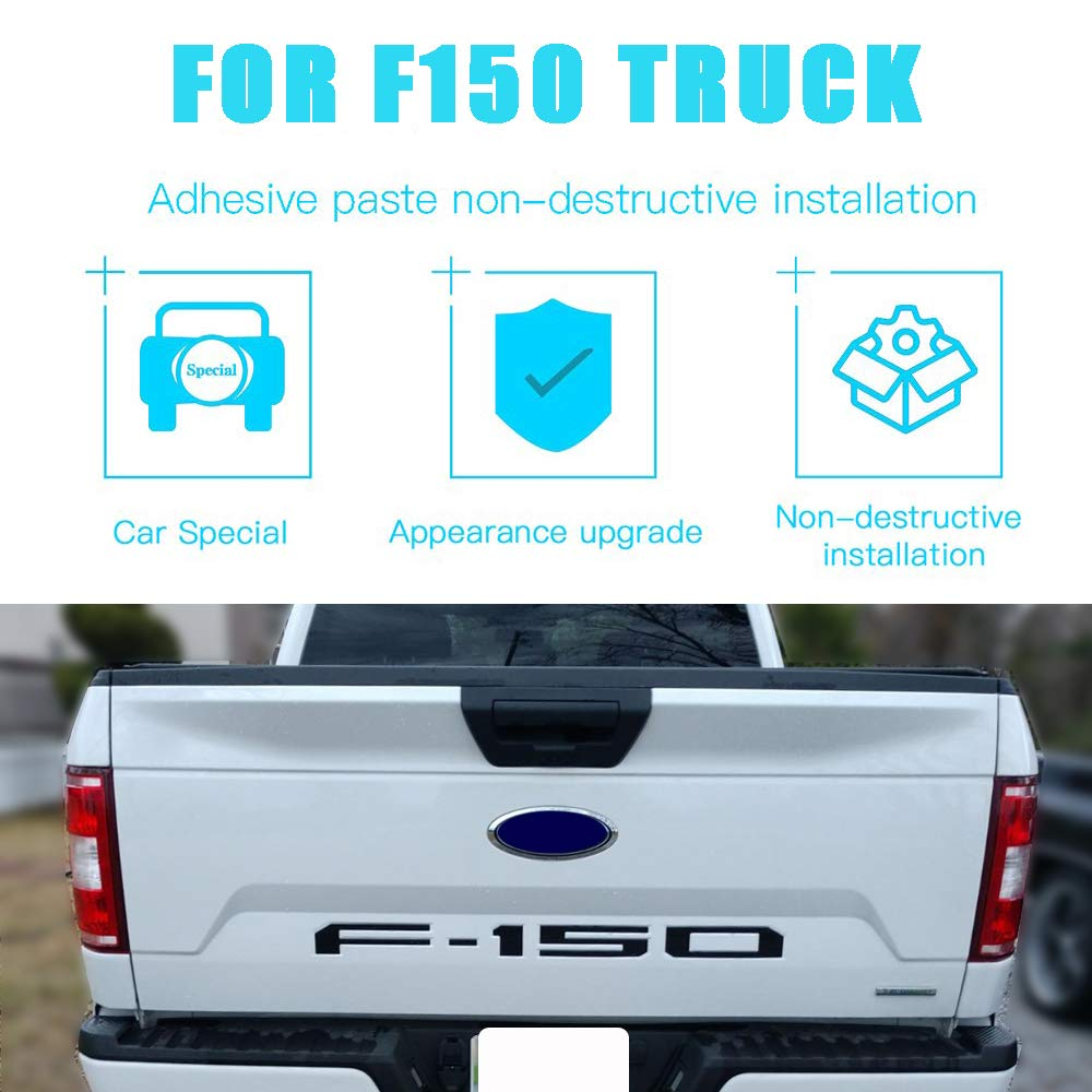 Tailgate Insert Emblem 3D Raised Car Letter Sticker with Adhesive Tape Fit Ford F150 2018-19 Accessories matte black