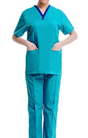 0d6d823ac91 Amazon.com: Hospital medical scrubs uniforms top and pants set for women  purple and blue: Clothing
