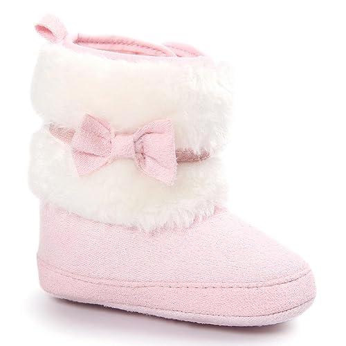 new arrival 5e2e7 cec24 Baby Stiefel, FNKDOR Mädchen Jungen Rutschfest Weiche Bowknot Schuhe für  Neugeborene 0-18 Monate