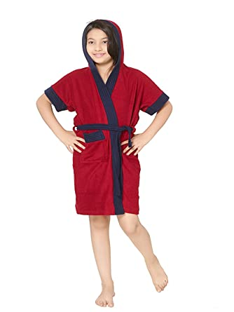 ELEVANTO Premium Collection Half Sleeve Soft Terry Bathrobe with Hood(Red with Blue Strips)