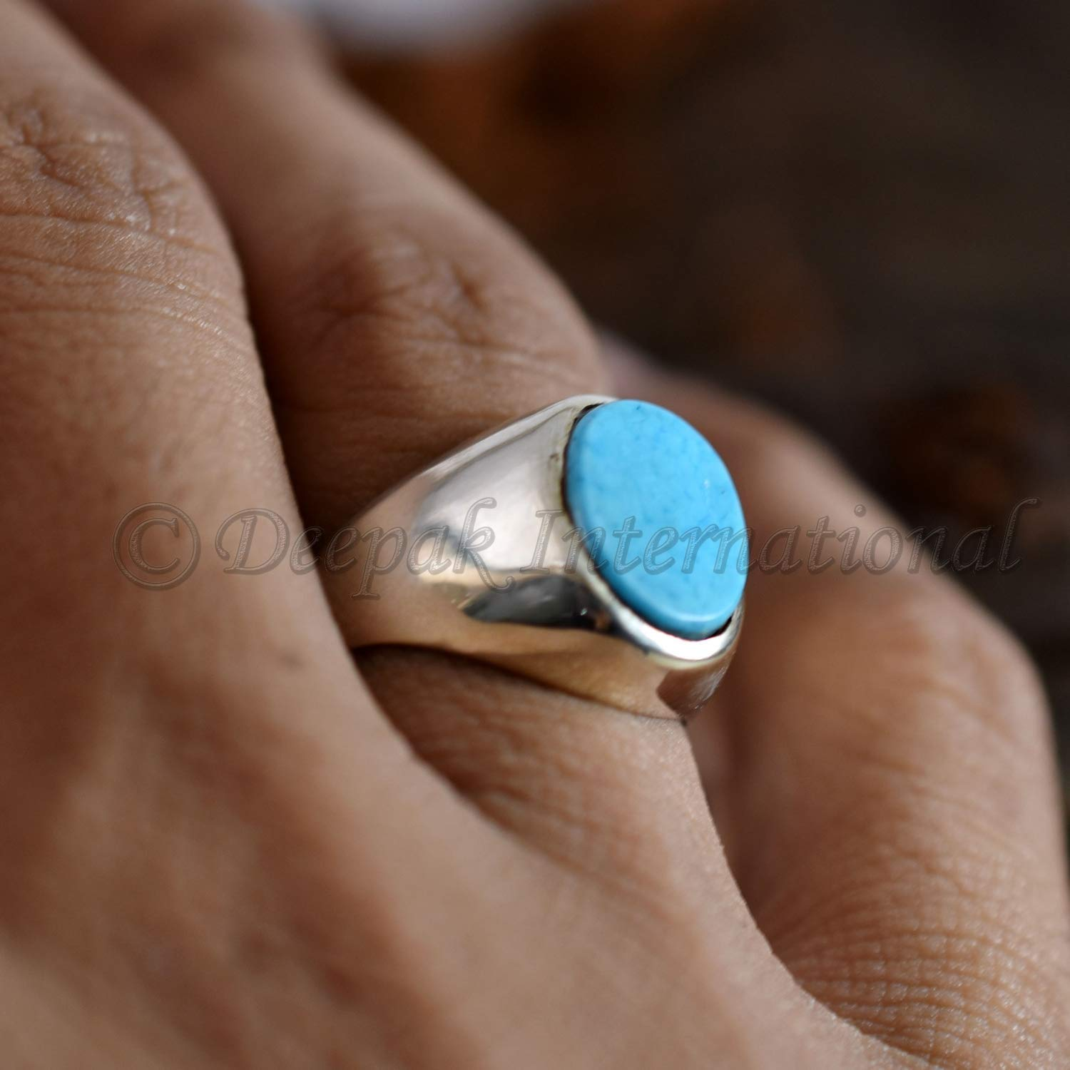 December Ring Gift For Him AAA Natural Turquoise Mood Ring For Boys Good Health Ring Solid Silver Ring 925 Silver Ring For Man