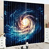 LB Galaxy Decor Room Darkening Blackout Curtains,Outer Space Spiral Galaxy Scenery Window Treatment Living Room Bedroom 3D Window Drapes 2 Panel Set,42 x 63 Inches Review