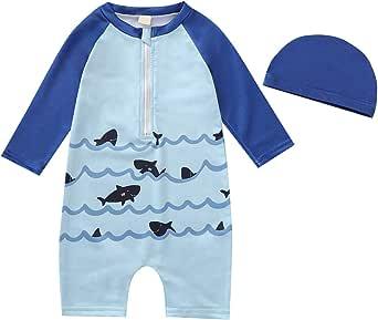 Traje de Baño para Niños Pequeños Traje de Baño con Estampado de Animales de Manga Larga Ropa de Playa con Sombrero