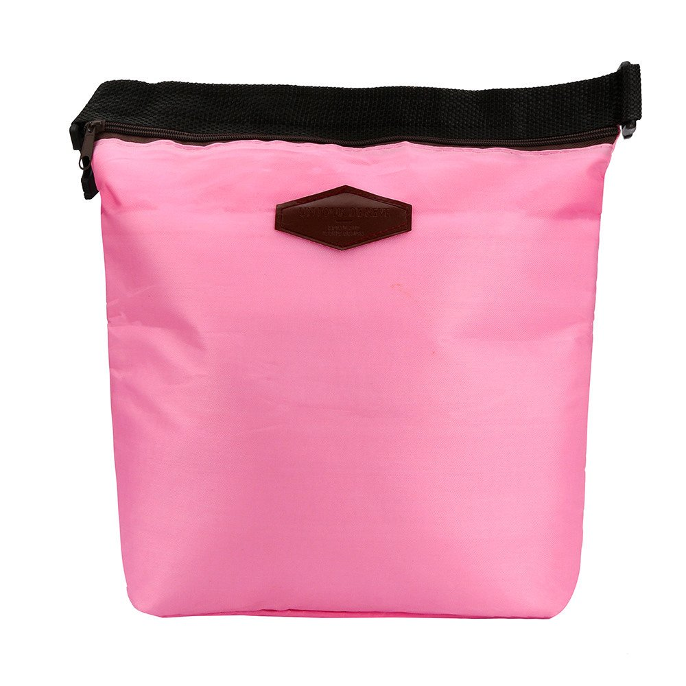 HighlifeS Lunch Bag Waterproof Thermal Fashion Cooler Insulated Lunch Box More Colors Portable Tote Storage Picnic Bags (Pink)