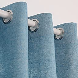 Deconovo Curtain Pair Solid Recycle Cotton Curtains Grommet Window Curtains 95 Room Curtains 52 W x 95 L Cyan Blue Pairs