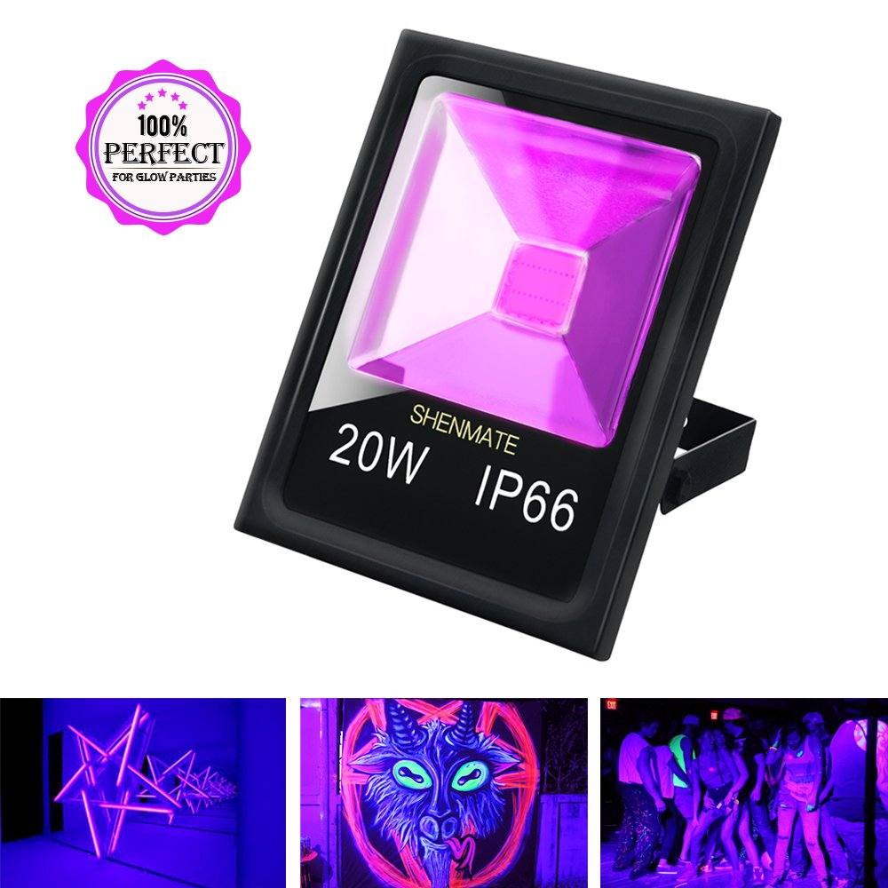 Outdoor Black Light, ShenMate 20W UV Flood Light IP66 Waterproof Blacklight for Body Paint, Fluorescent Poster Tapestry, Glow in The Dark Birthday Party and Halloween Yard Decoration