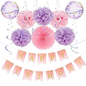 Easy Joy Decoración para Cumpleaños, Princesa Rosa ...
