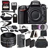 Nikon D750 DSLR Camera (Body Only) + Nikon AF NIKKOR 50mm f/1.8D Lens + 52mm 3 Piece Filter Set (UV, CPL, FL) + Battery + Sony 64GB SDXC Card + HDMI Cable + Remote + Card Reader + Flash Bundle