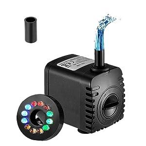 Homvik Bomba de Agua con LED Luces Bomba Sumergible para Acuario Estanque Pecera Fuente Circulación de Agua Dulce y Marino con Boquilla 15W 1000L/H 1.5m de Altura