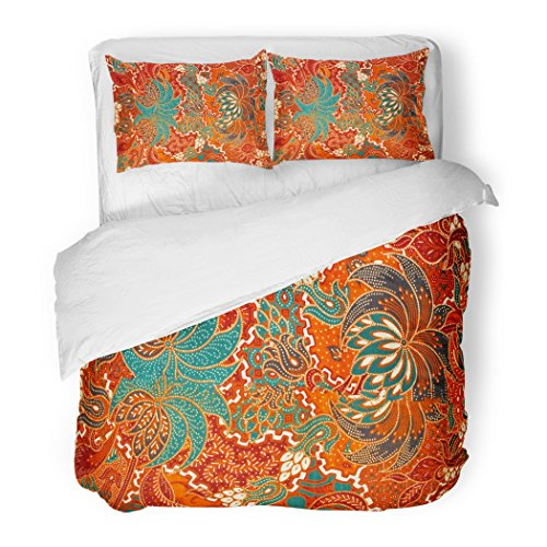 SanChic Duvet Cover Set Colorful Indonesia The Beautiful Malaysian Indonesian Batik Pattern Java Decorative Bedding Set Pillow Sham Twin Size by SanChic