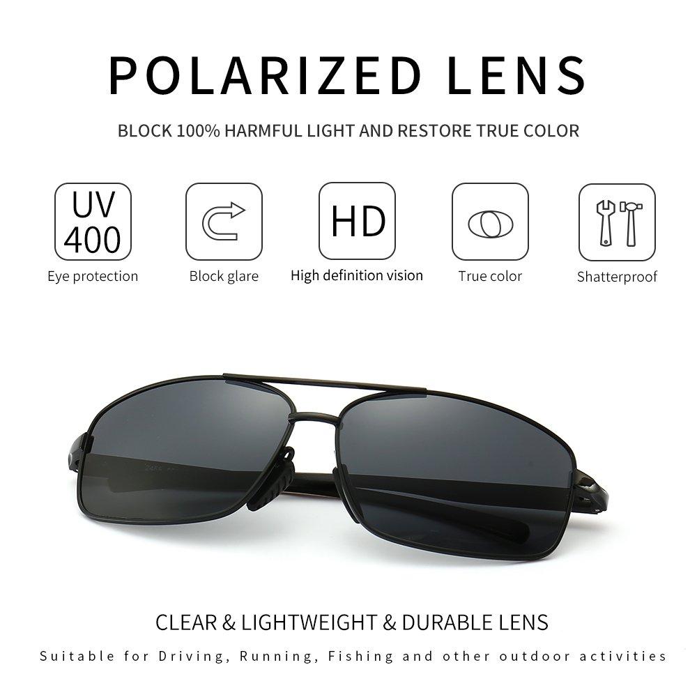 Amazon.com: SUNGAIT Ultra Lightweight Rectangular Polarized Sunglasses 100% UV  protection (Black Frame Gray Lens, 62) Metal Frame 2458 HKH: Clothing
