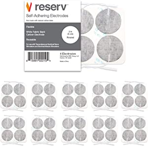 """reserv 2"""" Round Premium Re-Usable Self Adhesive Electrode Pads for TENS/EMS Unit, Fabric Backed Pads with Premium Gel (White Cloth and Latex Free) (40 Electrodes)"""
