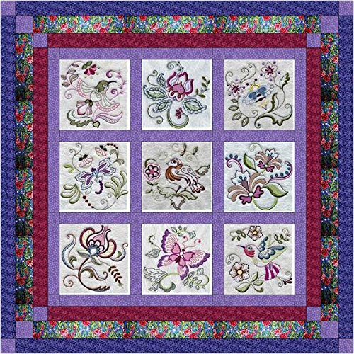 Quilt Kit Jacobean Floral/Pre Cut Ready to Sew/Finished Embroidery