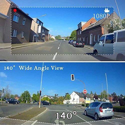 Caméra de tableau de bord HD 1080p avec vision de nuit, détection de mouvement, surveillance stationnement, enregistrement en boucle, grand angle 140° outlet
