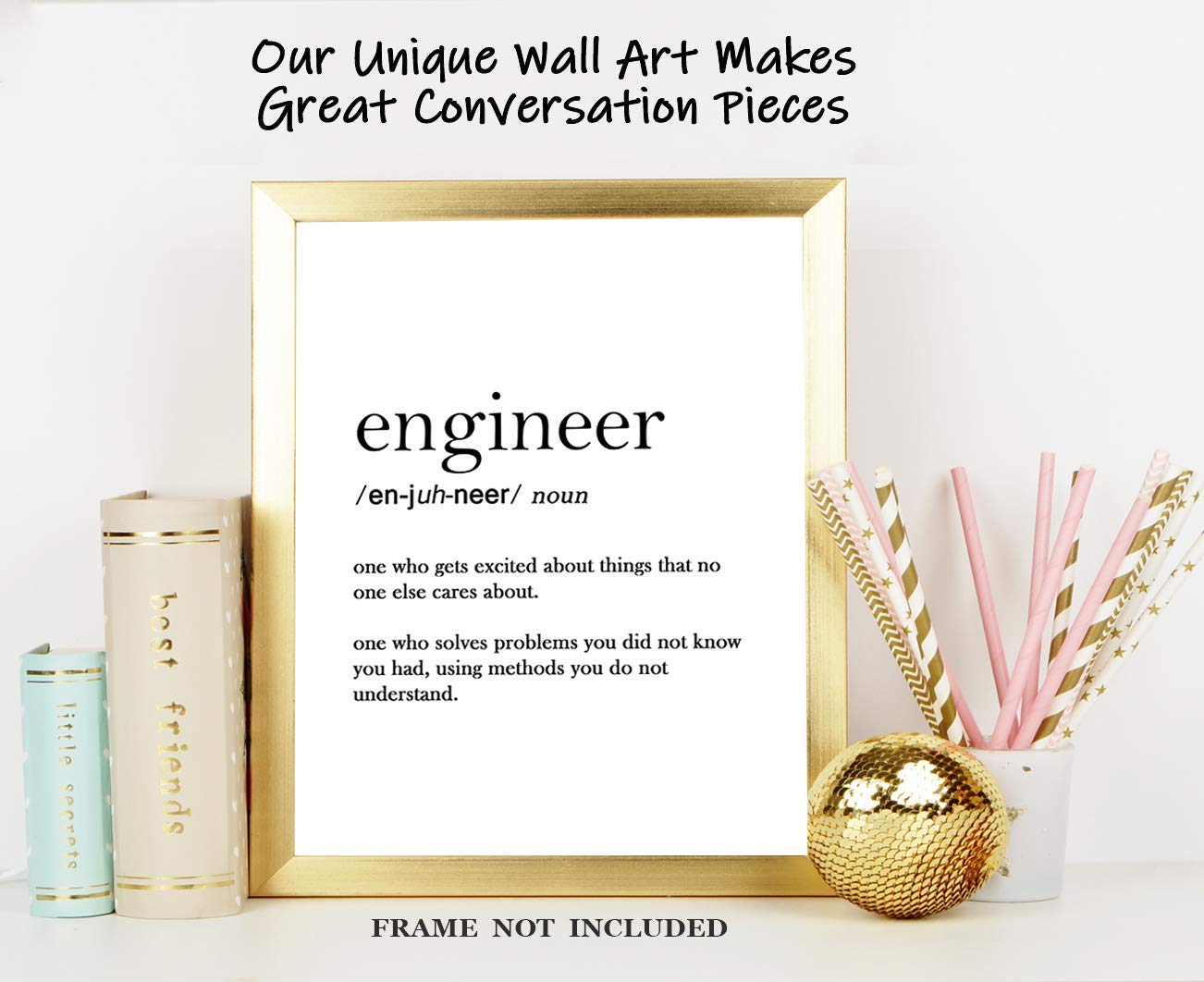 Great Gift Idea Under $15 for Home Decor 8x10 Engineer Definition Funny Typography Wall Art Print: Unframed Poster Print