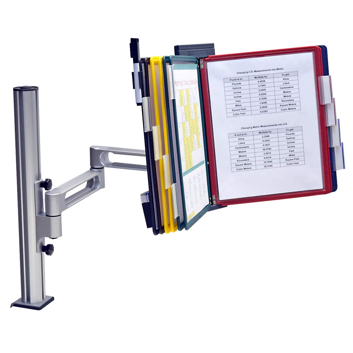 Outpost 2-Link, 10-Pocket Desk Clamp Reference Organizer with Post, Black w/Assorted Pockets