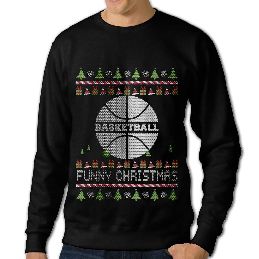 LLiYing-D Basketball Happy Christmas Adult Mens Casual Long Sleeve Sweater T Shirts