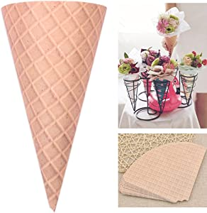 Self-Adhesive Flower Packaging Paper Bouquet Wrapper Candy Food Paper Conesfrom Ocharzy (20 pcs, Brown)