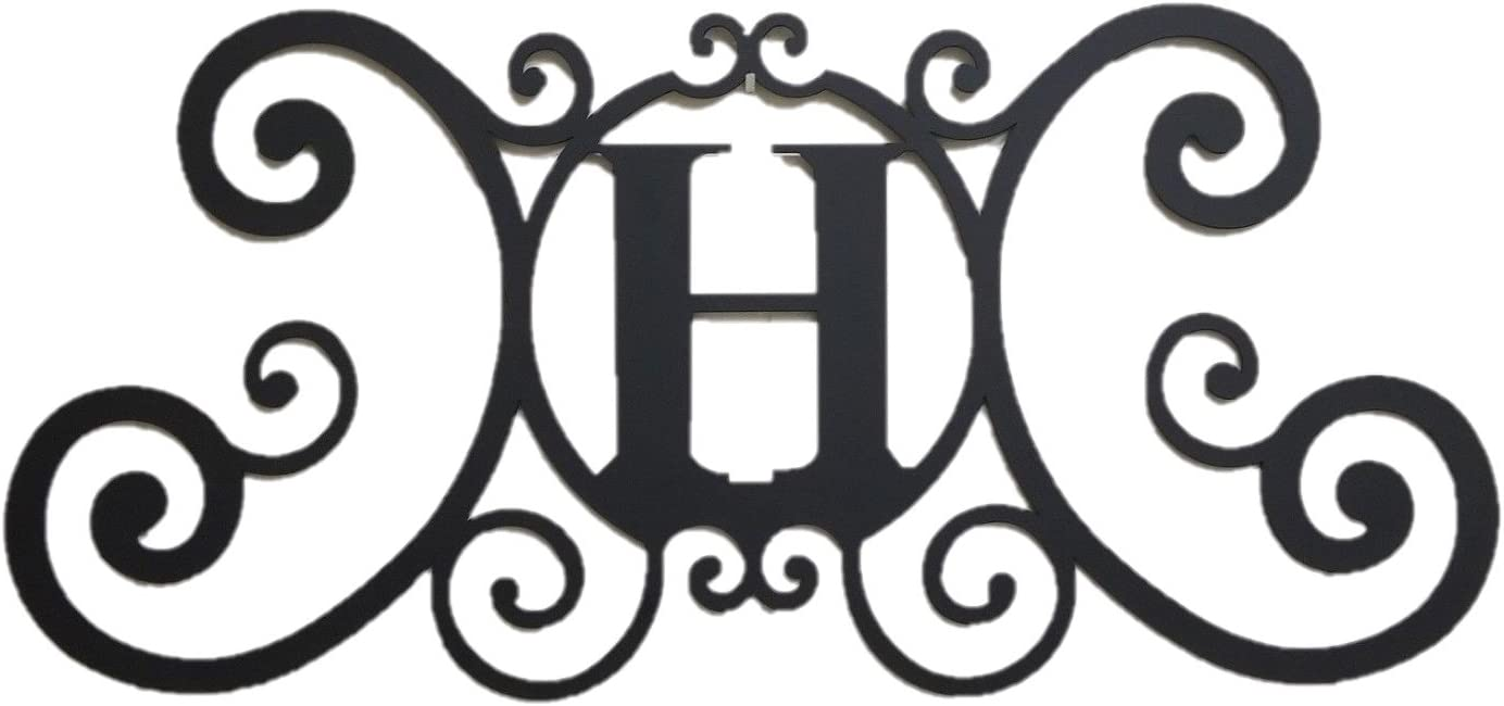 Bookishbunny Monogram Initial Letter A-Z Wrought Iron Metal Scrolled Door Wall Decoration Plaque Art, 24 x 11 inch 2mm Thick (H)