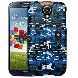 Samsung Galaxy S4 Case, Slim Fit Snap On Cover by Trek Army Blue Camouflage Uniform Case