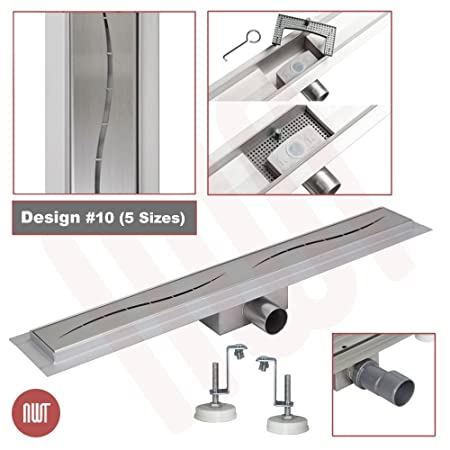 1000mm x 70mm Stainless Steel Rectangular Wetroom Drainage Gully Shower Drain Design 3