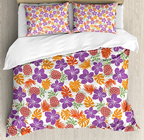 Ambesonne Pineapple Duvet Cover Set Queen Size, Lively Colored Print Natural Leaves Hibiscus Flowers Pineapples Tropic Hawaii, Decorative 3 Piece Bedding Set with 2 Pillow Shams, Multicolor by Ambesonne