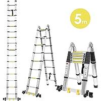 Fixkit 5M(2,5M+2,5m) Escalera Plegable Aluminio, Escalera Telescópica, Escalera