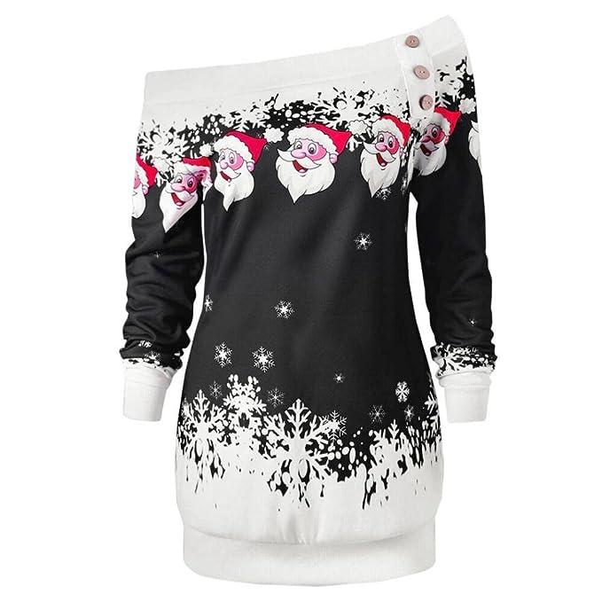 IMJONO Mujeres Sueltan Blusa Tops Manga Larga La Camiseta De La Blusa Ocasional Navidad Carta Camisa
