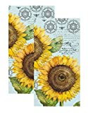 Ideal Home Range 3-Ply Paper Botanical Sunflower, 16 Count Guest Towel Napkins, Light Blue Set of 2
