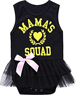 SUPEYA Toddler Baby Girls Tops Rompers Mama Print Tulle Dress