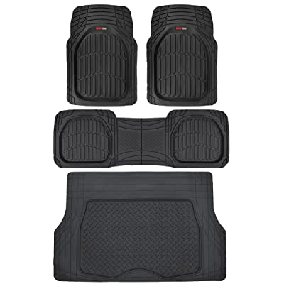 Motor Trend 4pc Black Car Floor Mats Set Rubber Tortoise Liners w/ Cargo for Auto SUV Trucks - All Weather Heavy Duty Floor Protection - MT-923-BK+MT-884-BK_amj: Automotive [5Bkhe1514100]