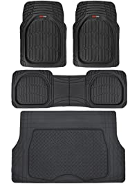 Motor Trend 4pc Black Car Floor Mats Set Rubber Tortoise Liners w/Cargo for Auto SUV Trucks - All Weather Heavy Duty...