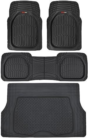Motor Trend Original FlexTough Black Rubber Car Floor Mats with Cargo Liner - All Weather Automotive Floor Mats, Heavy Duty Trim to Fit Design, Odorless Floor Liners for Cars Truck Van SUV