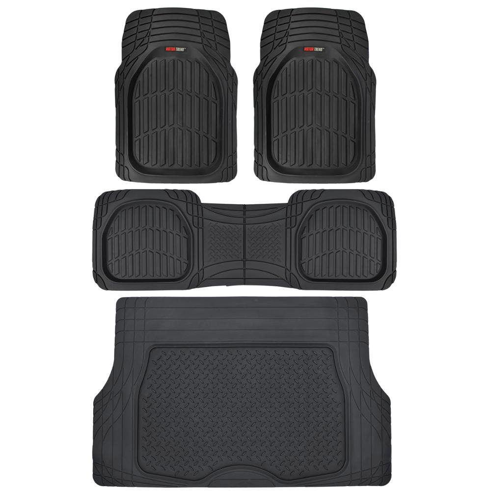Amazon.com: Motor Trend 4pc Black Car Floor Mats Set Rubber Tortoise Liners  w/ Cargo for Auto SUV Trucks - All Weather Heavy Duty Floor Protection: ...