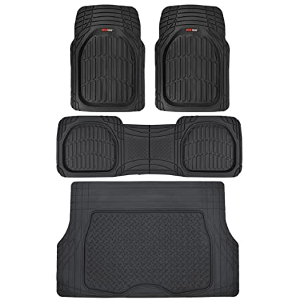 Suv Floor Mats >> Amazon Com Motor Trend 4pc Black Car Floor Mats Set Rubber Tortoise