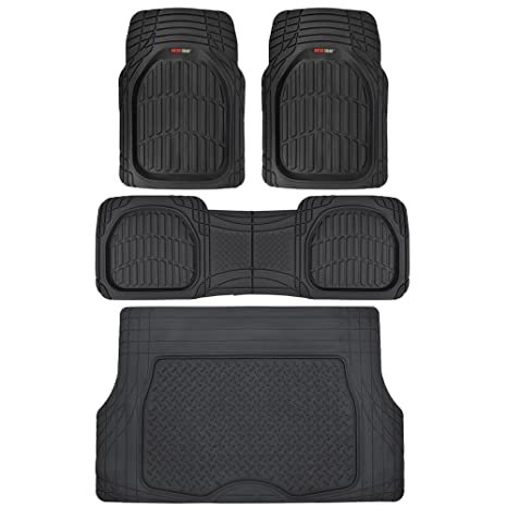 Suv Floor Mats >> Motor Trend 4pc Black Car Floor Mats Set Rubber Tortoise Liners W Cargo For Auto Suv Trucks All Weather Heavy Duty Floor Protection