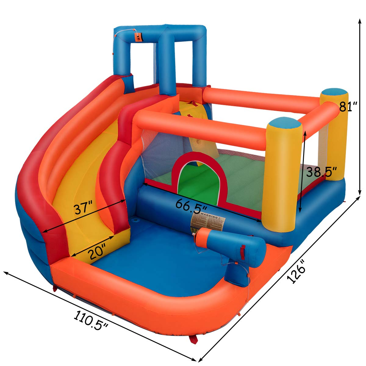 Costzon Inflatable Bounce House, 5-in-1 Water Slide w/ Climbing Wall, Jumping Area, Splash Pool, Water Cannon, Including Oxford Carry Bag, Repairing Kit, Stakes, Hose, Without Blower by Costzon (Image #7)