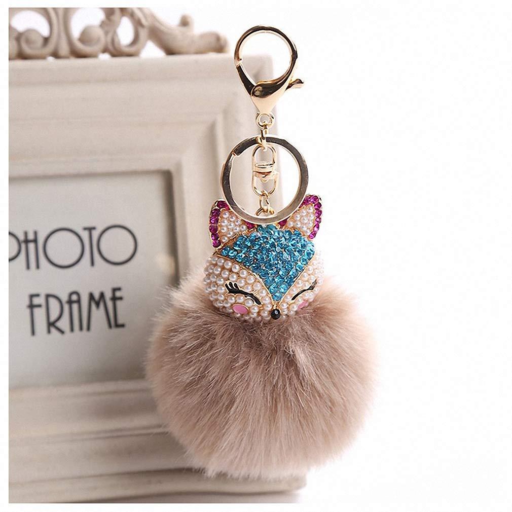 Amazon.com  Womens Charms Crystal Faux Fox Fur Keychain Women Trinkets  Suspension On Bags Car Key Chain Key Ring Toy Gifts Llaveros Jewelry 7C0394  Khaki  ... 48580dddb1
