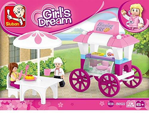 Sluban Girls Dream Food Carriage Building Block Toys for Kids 78PCS Multi Color Lego Compatible Educational ToyM38 B0522
