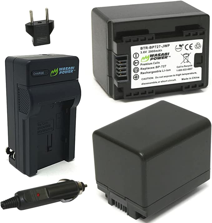 Canon VIXIA HF R30 Camcorder Battery Lithium Ion Replacement for Canon BP-727 Battery /& Charger with Charger 2900 mAh 3.6v
