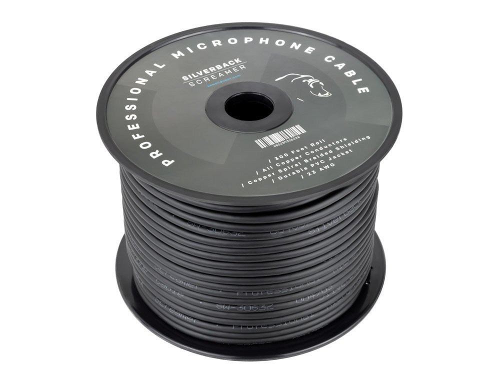 Silverback Screamer Bulk XLR Cable, 300 ft, All Copper Conductors, Spiral Braided Shielding