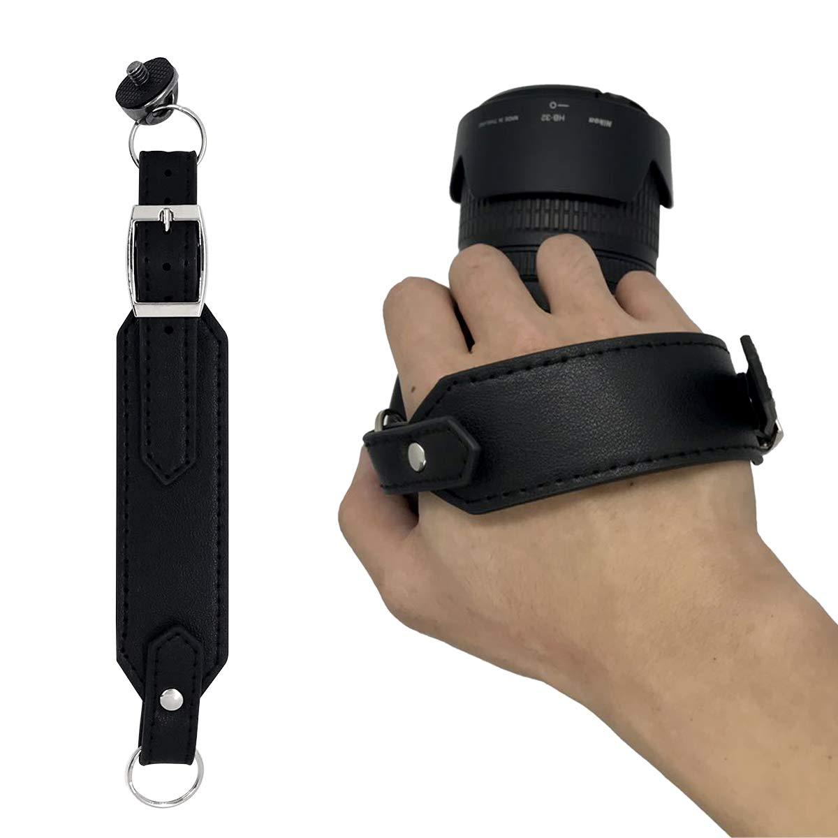 Homelex Leather Camera Hand Grip Strap SLR/DSLR Black Leather Wrist Strap