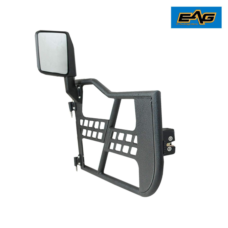 EAG Safari Tubular Door Black with Side View Mirror for 18-19 Jeep Wrangler JL 2 Door