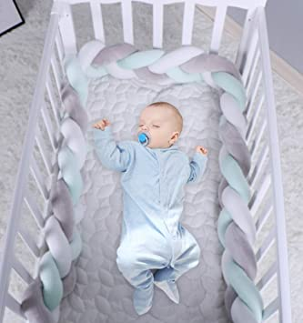Braided Baby Crib Bumper 78 inches Blue+White+Gray Soft Bedside Protector Knotted Plush Pillow Infant Cot Rails Nursery Cradle Decor