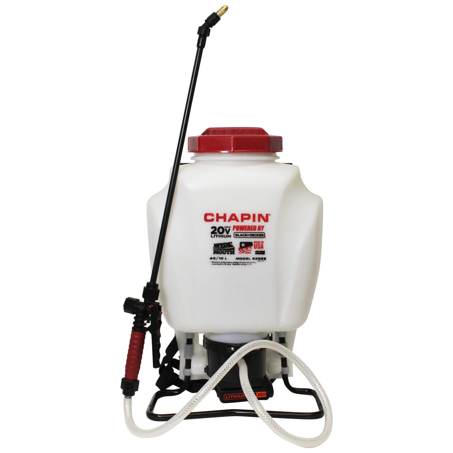 Chapin International 63985 Black & Decker Backpack Sprayer, 4 gal Translucent White
