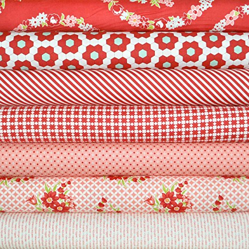 (Handmade 7 Red Fabric Fat Quarters by Bonnie & Camille for Moda, 1.75 Yards Total)