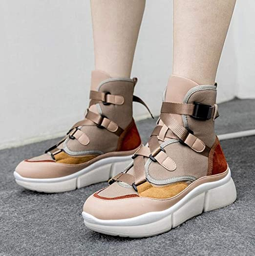 Amazon.com: Hy Womens Casual Shoes, Spring/Fall Leather High-top Boots,Comfort Breathable Fashion Sneakers,Thick Bottom Heighten Running Shoes,Walking ...