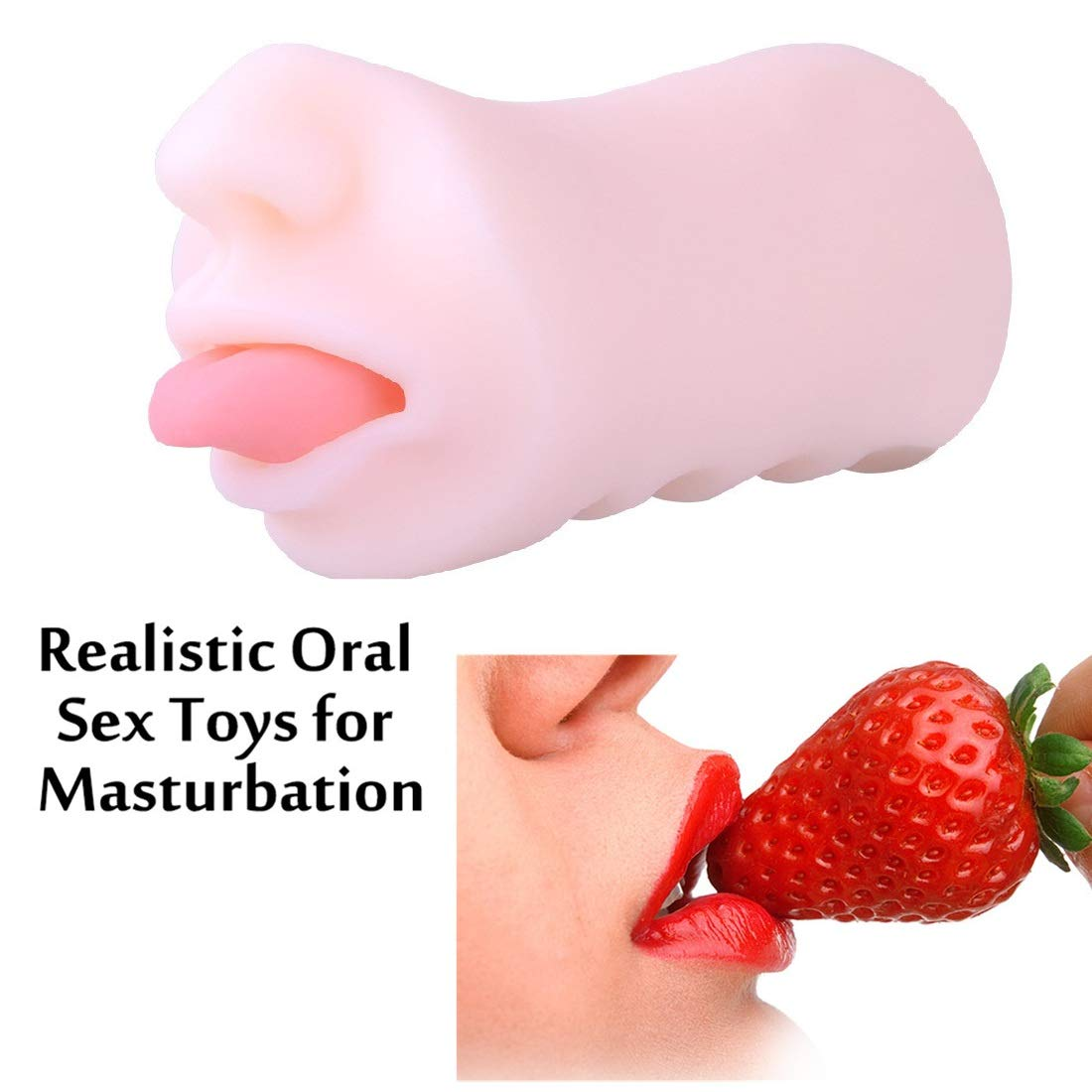 Masturbator Cup 3D Realistic Mouth with Teeth and Tongue Blow Job Stroker Oral Sex Toys Pocket Pussy Vagina Pussy for Male Masturbation